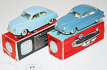 TWO TEKNO 827 SAAB MODELS, ONE POWDER BLUE, ONE STEEL BLUE WITH POSSIBLY REPLACED HUBS, ONE END FLAP TO BOX DETACHED  (E-M BOXES F-E) (2)