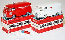 TWO TEKNO TAUNUS TRANSIT 415 MODELS INCLUDING ONE RED FALCK ZONEN AMBULANCE; AND WHITE AMBULANCE MISSING ROOF LIGHT (VG-M BOXES P-F)(2)