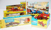CORGI MAJOR 111 MASSEY-FERGUSON; GIFT SET 2 UNIMOG 40G ; GOOSE DUMPER PRIESTMAN ;CUB; SHOVEL; MAJOR 1153 PRIESTMAN BOOM CRANE WITH GRAB; 1138 CAR TRANSPORTER- ONE SIDE MIRROR MISSING; AND 64 WORKING CONVEYOR- MAN MISSING (VG-M BOXES P-M) (5)