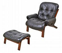 PAIR OF ODDVIN RYKKEN (NORWEGIAN) RECLINERS AND MATCHING OTTOMANS