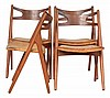 SET OF FOUR HANS WEGNER (DANISH, 1914-2007) CH-29 SAWBACK DINING CHAIRS