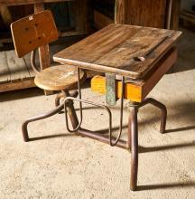 MID-CENTURY CHILDREN'S SCHOOL DESK AND CHAIR