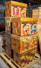 SEVEN VINTAGE TEA CHESTS WITH LACQUERED JAPANESE COMICS INCLUDING DAVID BROMLEY BOY