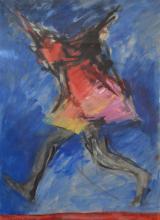 AUDREY BERGNER, RUNNING FIGURE, GOUACHE, 58 X 41CM