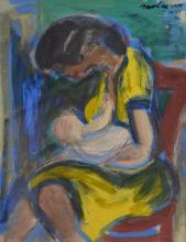 ARTIST UNKNOWN, MOTHER AND CHILD 1951, INK AND ACRYLIC, 26 X 20CM