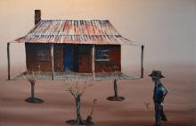 GRAY SMITH, OUTBACK HOME AND FIGURE 1958, OIL ON BOARDM 70 X 91 CM