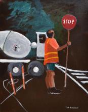 TED BILSON, STOP, ACRYLIC ON CANVAS, 51 X 41 CM
