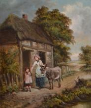 L. LACKER, MOTHER, CHILD AND DONKEY, OIL ON CANVAS, 60 X 50CM
