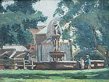 ROBERT WADEN (1900-1946), FOUNTAIN, BOTANIC PARK, ADELAIDE, OIL ON CANVASBOARD, 25 X 32CM