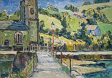 ROBERT SYDNEY RENDLE WOOD (1895-1987), NORTH CORNWALL VILLAGE, OIL ON BOARD, 34 X 45CM
