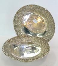 A PAIR OF STERLING SILVER EMBOSSED DISHES, MAKERS MARKS FOR HORACE WOODWARD & CO., LONDON, 1890