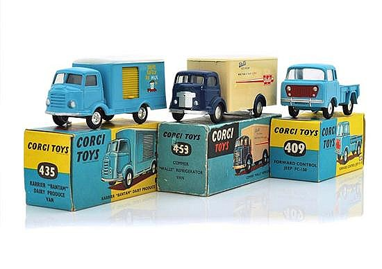 THREE CORGI COMMERCIAL VEHICLES INCLUDING 409; 435; AND 453 (E-M BOXES F-E) (3)