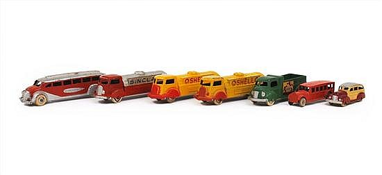 COLLECTION OF TOOTSIETOY VEHICLES INCLUDING TRANS-AMERICA BUS, 3 X PETROL TANKERS AND OTHERS, UNBOXED (F-VG) (7)