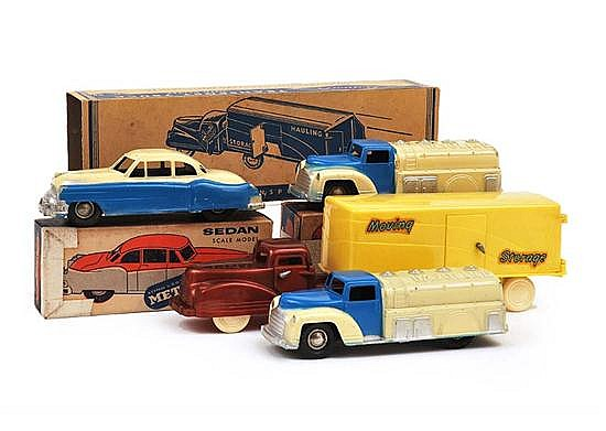 COLLECTION OF RENWAL VEHICLES INCLUDING PLASTIC TRANSPORT TRUCK; 2 X METAL GASOLINE TRUCK; METAL SEDAN AND ONE OTHER (G-E BOXES P-G)...