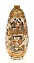 JAPANESE SATSUMA VASE WITH BOTTLE NECK, HEAVILY GILDED WITH VARIOUS DECORATIVE PANELS, SIGNED TO BASE, 9.5CM TALL, SOME RUBBING
