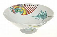 CHINESE SHALLOW PORCELAIN BOWL WITH PHOENIX SCENE, 7.5CM HIGH