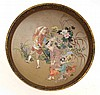 JAPANESE SATSUMA PLATE WITH DECORATIVE SCENE OF FAMILY IN GARDEN SETTING, SIGNED KINKOZAN, 11.5CM DIA.
