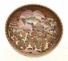 JAPANESE SATSUMA BOWL WITH ELABORATE SCENE OF GEISHA GATHERING , SIGNATURE WORN, 11CM HIGH