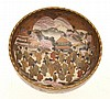 JAPANESE SATSUMA BOWL WITH ELABORATE SCENE OF GEISHA GATHERING , SIGNATURE WORN, 11CM HIGH