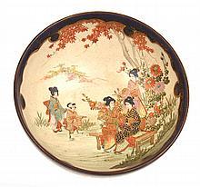 JAPANESE SATSUMA BOWL WITH INTERNAL SCENE OF GEISHAS IN GARDEN SETTING, SIGNED HAKUZAN, GILDING WORN TO OUTER RIM, 5.5CM HIGH, 13.5CM DIA