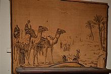 A WALL TAPESTRY DEPICTING AN OASIS