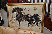 A FRAMED PRINT OF A HORSE