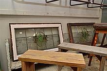 NINE ASSORTED WINDOW AND DOOR LEAD LIGHT PANELS (ONE CRACKED)