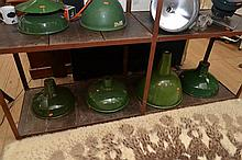 A COLLECTION OF EIGHT VINTAGE INDUSTRIAL ENAMEL LIGHTS