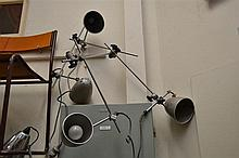 FOUR VINTAGE PHOTOGRAPHIC LIGHTS AND ONE CHROME PLANET LAMP