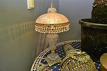 GILT METAL MOUNTED PRESSED GLASS LAMP AND ONE OTHER PAIR (DIPLAYED IN CLIENT ROOM)