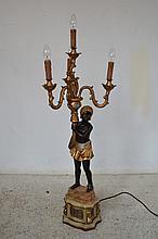 A GILT THREE BRANCH BLACKAMORE STYLE LAMP