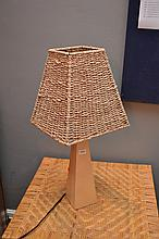 A PAIR OF TIMBER BEDSIDE LAMPS