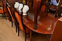 A REGENCY STYLE DINING SETTING COMPRISING AN EXTENSION DINING TABLE, FOUR CHAIRS AND TWO CARVERS