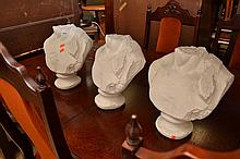A GROUP OF THREE PLASTER MOLD BUSTS