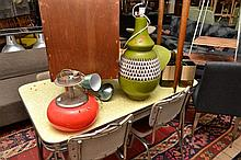 A BOX OF ASSORTED RETRO LIGHTS AND 1970'S CERAMIC LAMP BASE