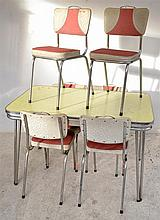 A 1950'S DINING SETTING COMPRISING OF SIX RED AND GREY VINYL CHAIRS AND YELLOW TOP TABLE