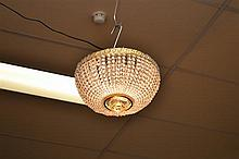 A MATCHING PAIR OF MID 20TH CENTURY FLUSH FIT CRYSTAL DOME LIGHTS (POWER LEAD AND PLUG NOT INCLUDED)