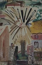 TWO WORKS BY ALEXANDER ROBINSON, STREET SCENE AND ONE OTHER, GOUACHE ON PAPER (2)