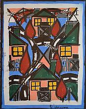 KATHERINE HATTAM, THE HOUSE 1989, GOUACHE AND CHARCOAL, 76 X 57CM