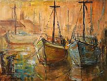 SIGNED COXSEDG, DOCKED BOATS, 1965, OIL ON BOARD, 39 X 51CM