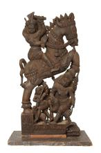 A LARGE GROUP WOOD CARVING, INDIAN 19TH CENTURY