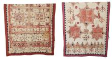 TWO RARE NORTHERN INDIAN GUJARAT EMBROIDERED AND MIRRORED WALL HANGINGS, 19TH/20TH CENTURY