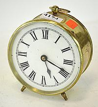 FRENCH BRASS CASED BEDSIDE CLOCK