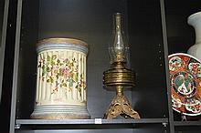 EDWARDIAN JARDINIERE PEDESTAL AND KEROSENE LAMP