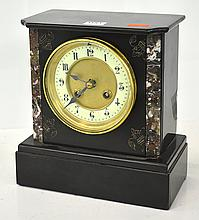 SLATE AND MARBLE MANTEL CLOCK