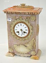 PINK ONYX CASED MANTEL CLOCK