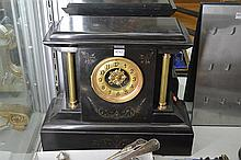 LARGE FRENCH SLATE MANTEL CLOCK