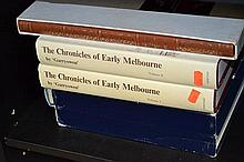 ONE SHELF OF AUSTRALIAN HISTORICAL REFERENCE INCL. THE CHRONICLES OF EARLY MELBOURNE, FACSIMILE EDITION