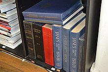 ONE SHELF OF REFERENCE BOOKS, INCL. REGISTER OF SHIPS , 1967 - 68, 1975 - 76, AND 1979 - 80