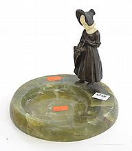 FRENCH ART DECO ONYX ASHTRAY WITH IVORY AND BRONZE FIGURE